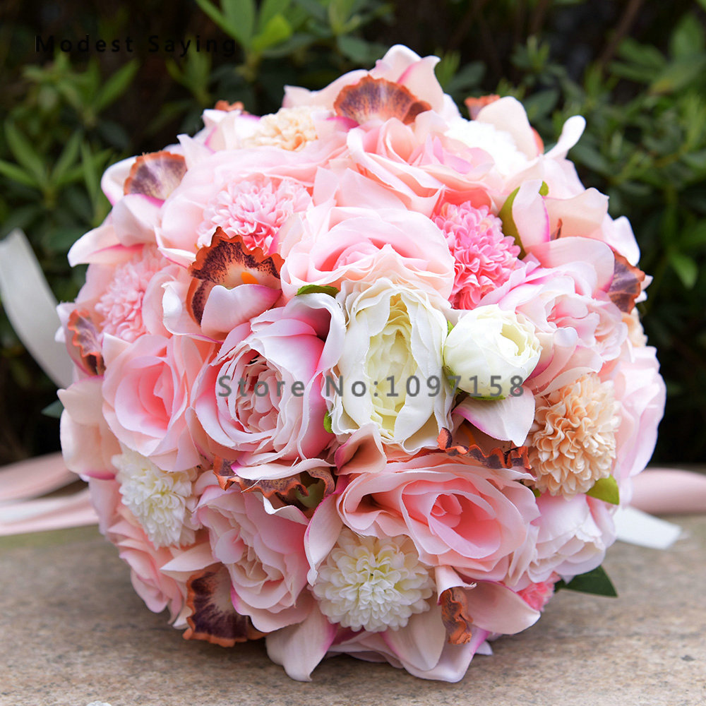 Pack with Box Gorgeous Artificial Flowers Rosette Wedding Bouquets ...