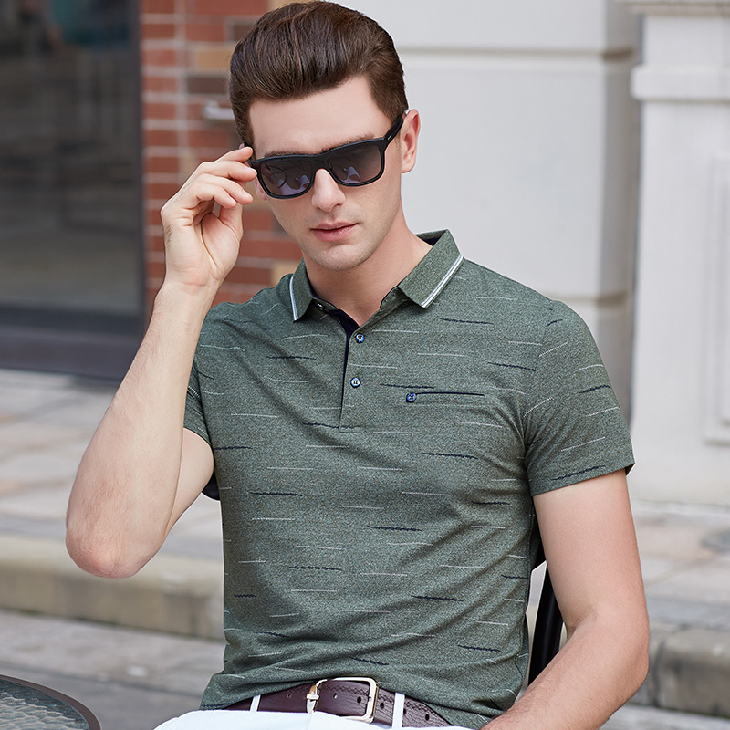 Polo   shirt men homme camisa brand summer short sleeve printed pockets mens   polos   business casual man clothing plus size XXXL9681
