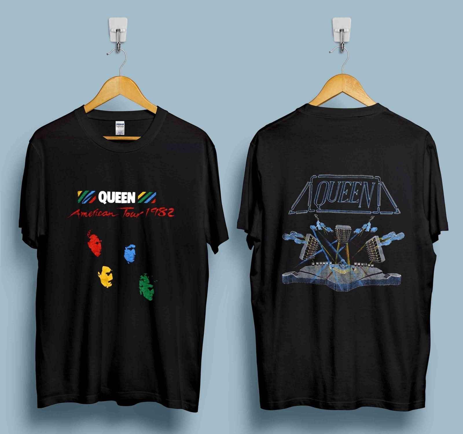 VINTAGE QUEEN TSHIRT 1982 HOT SPACE TOUR GLAM ROCK BAND FREDDIE MERCURY  REPRINT Hot 2018 Summer Men\u0027S T Shirt Fashion