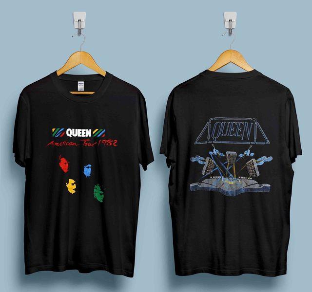 4f10f9690f0 VINTAGE QUEEN TSHIRT 1982 HOT SPACE TOUR GLAM ROCK BAND FREDDIE MERCURY  REPRINT Hot 2018 Summer Men S T Shirt Fashion