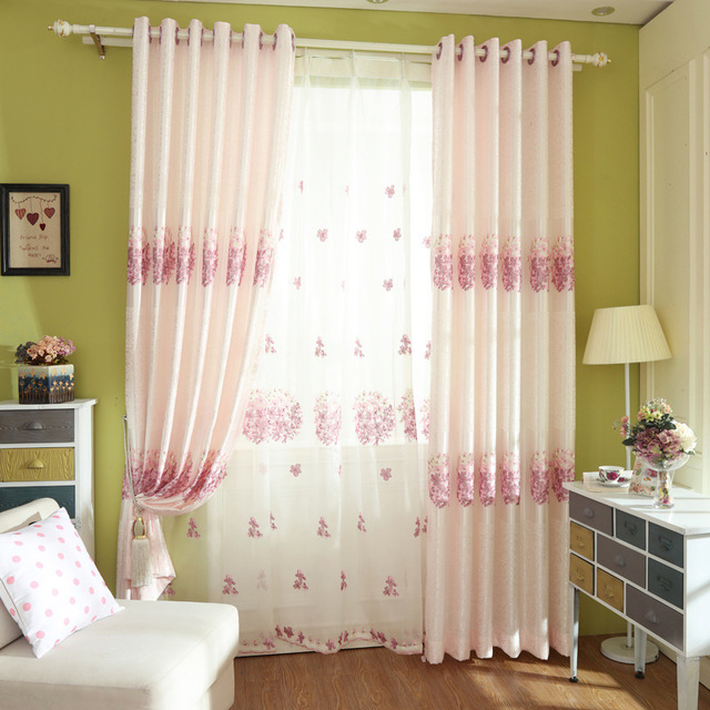 The Bedroom Pink Curtain Windows Finished Korean Garden Embroidered Curtains For Living Dining Room