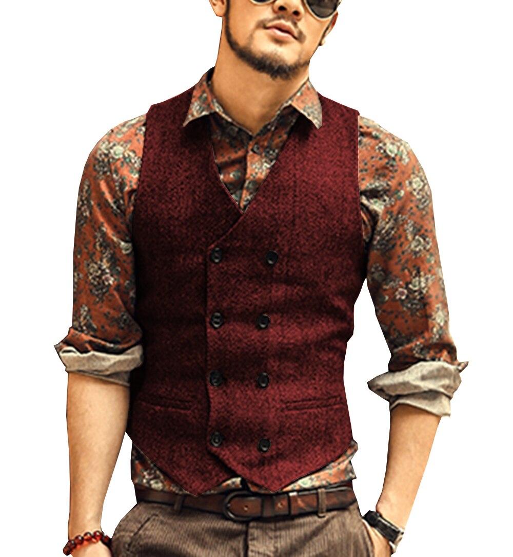 Burgundy Men's Double-breasted Vest Slim Fit Woolen/Tweed Suit Vest Casual Top Quality Herringbone Pattern Waistcoat For Wedding