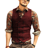 Burgundy Men's Double breasted Vest slim fit woolen/Tweed suit vest casual top quality Herringbone pattern Waistcoat For Wedding