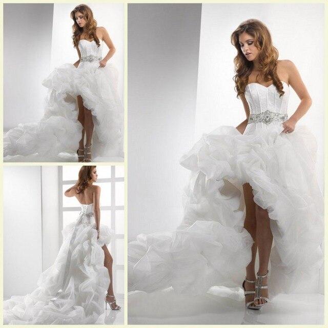 Porcelain Bridal Gowns Sweetheart Neck Sash Court Train Lace Up Back Design Wedding Dress Short Front