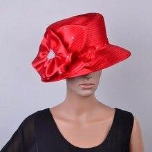 Новая Красная атласная церковная шляпа, Свадебный Чародей sinamay fedora для Кентукки Дерби, свадебные, вечерние, гонки. QHD008R