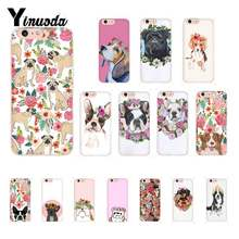 Yinuoda flor cão pug moda estética animal arte Cliente Alta Caixa Do Telefone para o iphone 8 7 6 6 S Plus X XS MAX 5 5S SE XR 10(China)