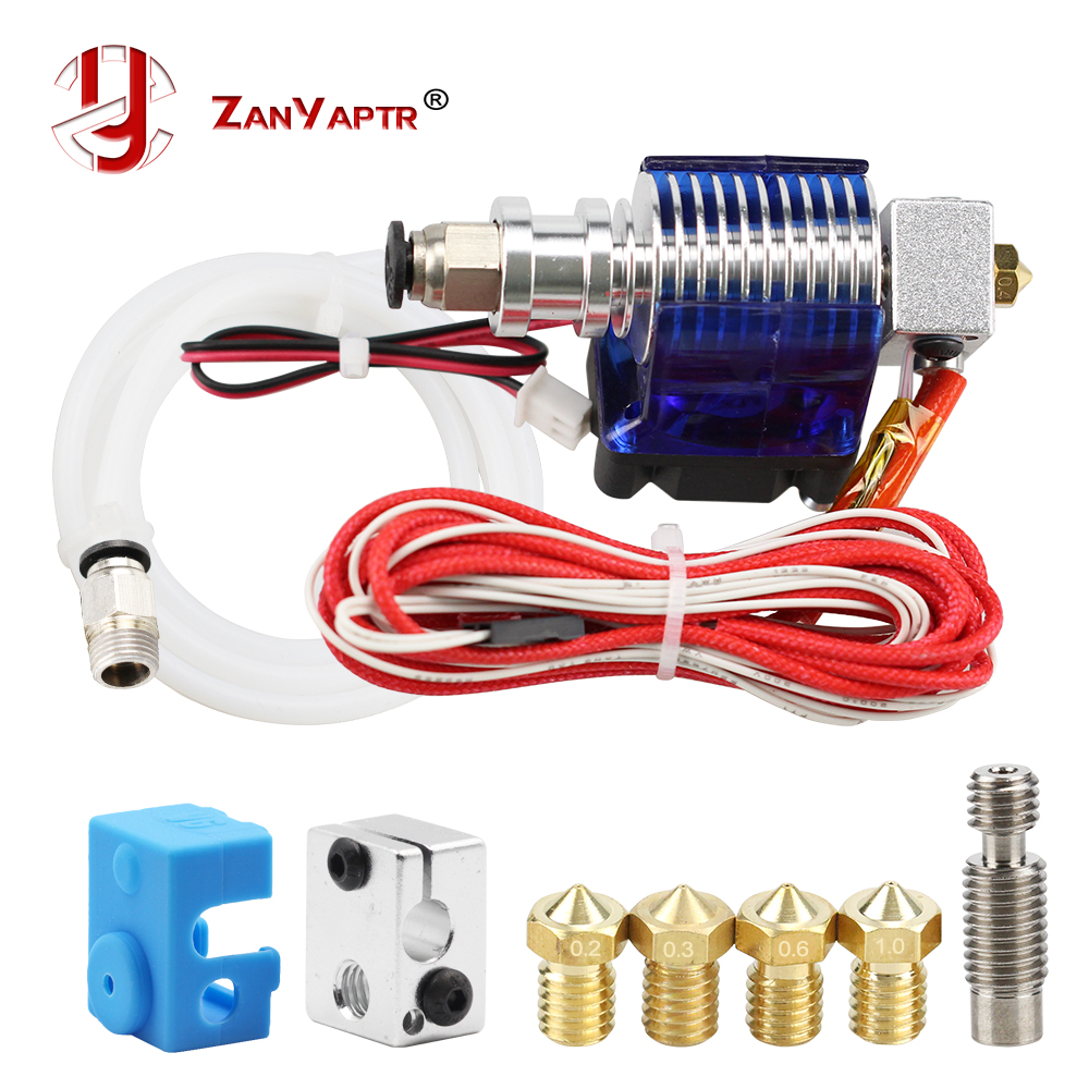 3D impresora J-la salida Hotend con un solo ventilador de refrigeración para 1,75mm/3,0mm 3D v6 bowden filamento wade extrusora de 0,2mm/0,3mm/boquilla de 0,4mm