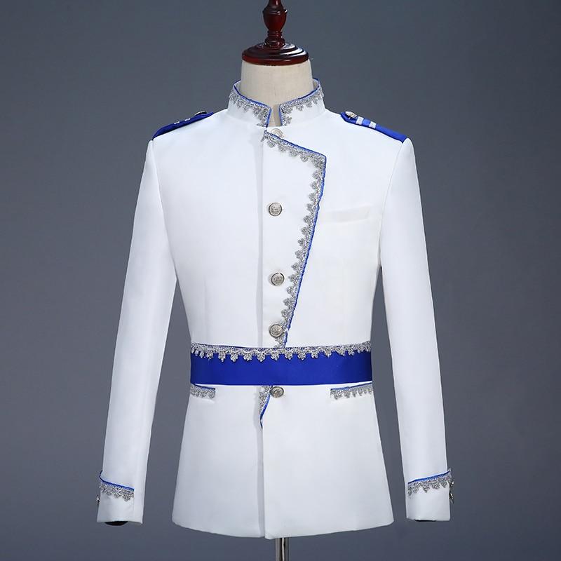 Militaire Stijl Hof Prins Blazer Mannen Podium Bruiloft Bruidegom Slim Fit Jasje Veste Homme Kostuum Bleiser Hombre