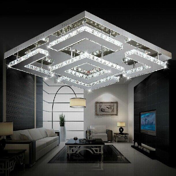 Large Square Design Modern LED Crystal Ceiling Light for Living Room Lustre de Circles Indoor Lighting for Ceiling