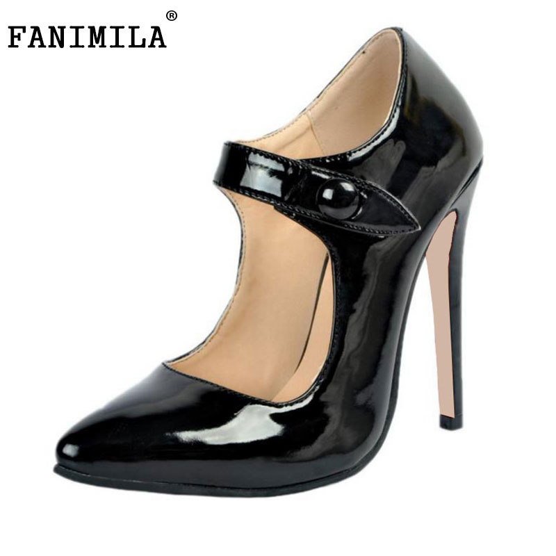 FANIMILA Women High-Heeled Thin High Heel Woman OL Shoes With Pointed Toe Thick Straps Pumps Ladies Heeled Footwear Size34-47 2017 new summer women flock party pumps high heeled shoes thin heel fashion pointed toe high quality mature low uppers yc268