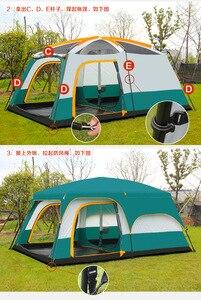 Image 2 - גמל Ultralarge 6 10 12 שכבה כפולה חיצוני 2 סלון חדרי 1 אולם משפחת קמפינג אוהל למעלה איכות חלל גדול אוהל