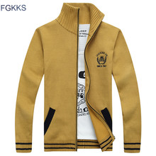 FGKKS 2018 New Winter Casual Mens Cardigan Sweater Stand Collar Men's Sweaters Warm Thick Velvet Sweaters Warm Clothing Male