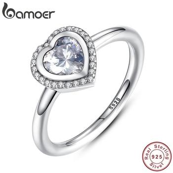 Bamoer Spring Koleksi 925 Sterling Silver Berkilau Cinta Jantung Cincin Wanita Perhiasan Saint Valentine 'S Hari Hadiah PA7135