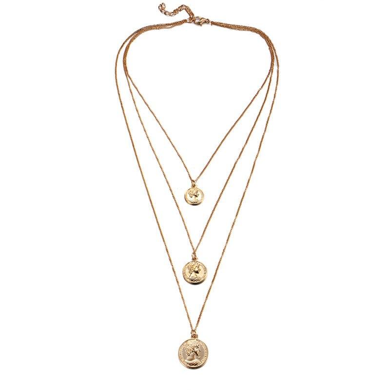 Многослойный Кристалл лунные ожерелья и кулоны для женщин винтажное очаровательное Золотое колье ожерелье богемное ювелирное изделие - Окраска металла: FCS33951