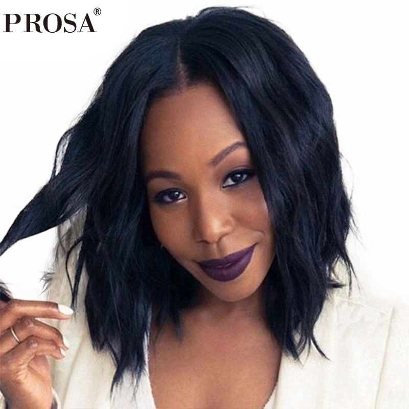 Bob Wig Natural Wavy Brazilian Short Human Hair Wigs For Women Black Glueless Lace Front Wig With Baby Hair Prosa Remy