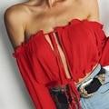 Zewo moda blusa chiffon mulheres fora do ombro manga flare feminino blusas camisa senhoras da praia do verão sexy tops lace up blusas