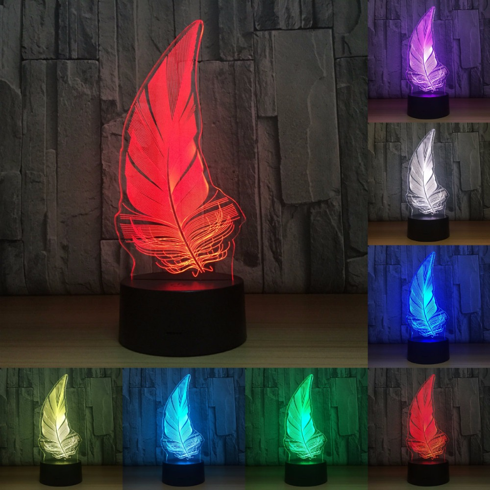 Feather 3d Lamp 7 Color Led Night Lamps Touch Led Usb Table Lampara Lampe Baby Nightlight Lava Lamp IY803757
