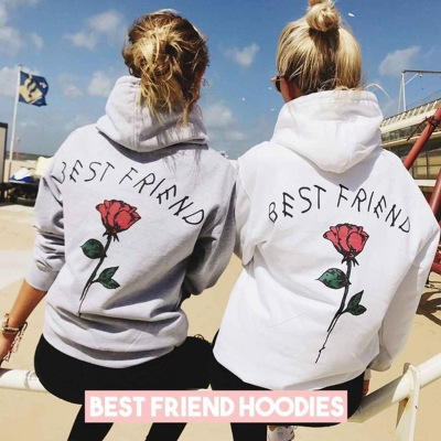52f2769c5324 Hoodie Women Best Friend Red Rose Print Hoodies Sweatshirts Hooded Pullover  Autumn Winter Coat Fleece BFF Hoody Ladies Clothes
