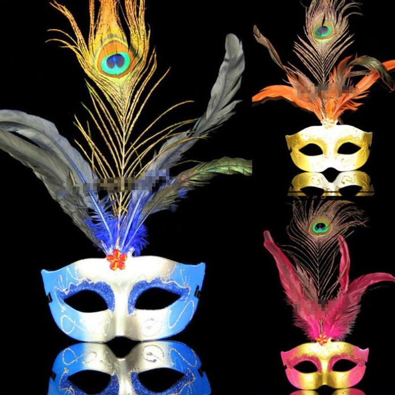 Peacock Feather Half Face Mask Women Girls Venice Princess