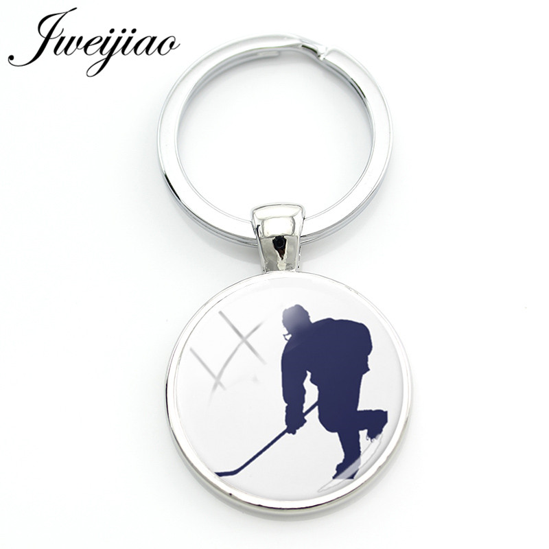 JWEIJIAO Fashion rollar/Ice hocker Keychain Hockey player Figure Silhouette Picture Key Chain Keyring Bag Key Pendant HY11 figure print chain bag