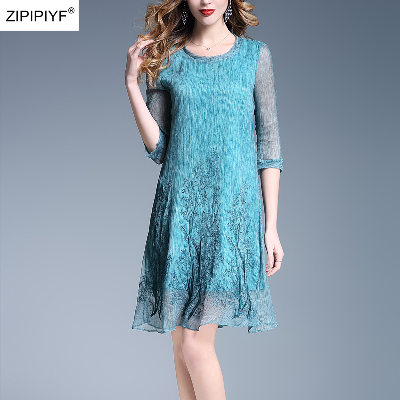 2018 New Summer Office Ladies A-line Dress Vintage Elegant Half Sleeve Mid Waist Dresses Ladies O-Neck Knee-Length Dress W1142