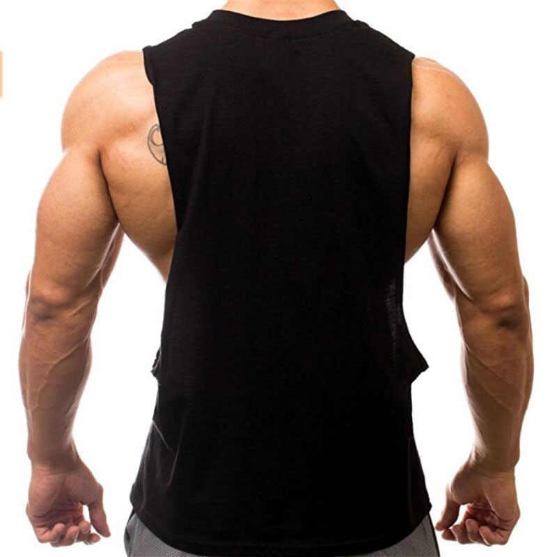 Жилет для бега Мужская Спортивная безрукавка открытая боковая футболка без рукавов Спортивная тренировка открытый хлопок Рашгард тренировочная безрукавка Фитнес-топ