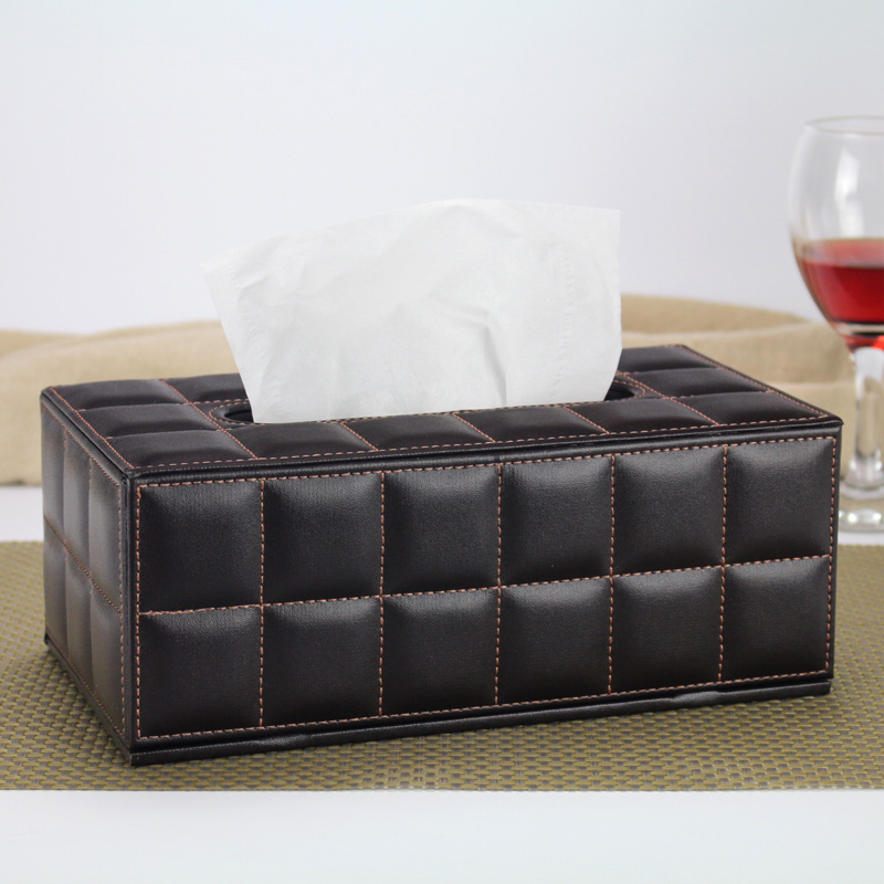 European Fashion PU leather Desk Organizer Tissue Box Home Office Table Vintage Classic Storage Cases Desk Set ...