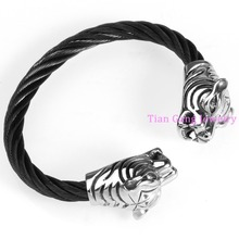 Top Design Cool New 316L Stainless Steel Tiger End Twisted Wire Cable Gold Black Cuff Bangle Bracelet Men's Jewelry