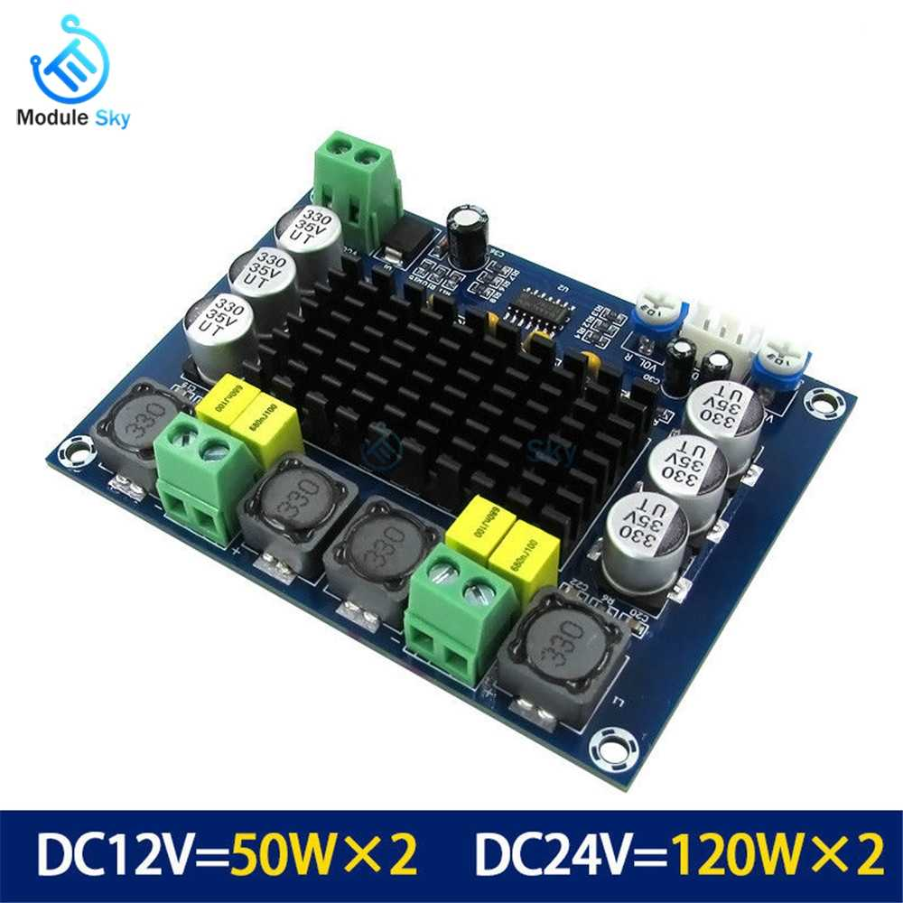 TPA3116D2 XH-M543 Dual-channel Stereo High Power Digital Audio Amplifier Board 2*120W Amplificador DIY Module 12V-24V