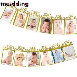 Image 3 - Meiddingベビー誕生日 12 ヶ月写真ホオジロベビーシャワー紙花輪少年少女 1st誕生日パーティーの装飾用品