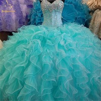 2018 New Turquoise Quinceanera Dresses Ball Gown Lace Up Sweet 16 Dress For 15 Years Formal Prom Party Pageant Gown QA1265