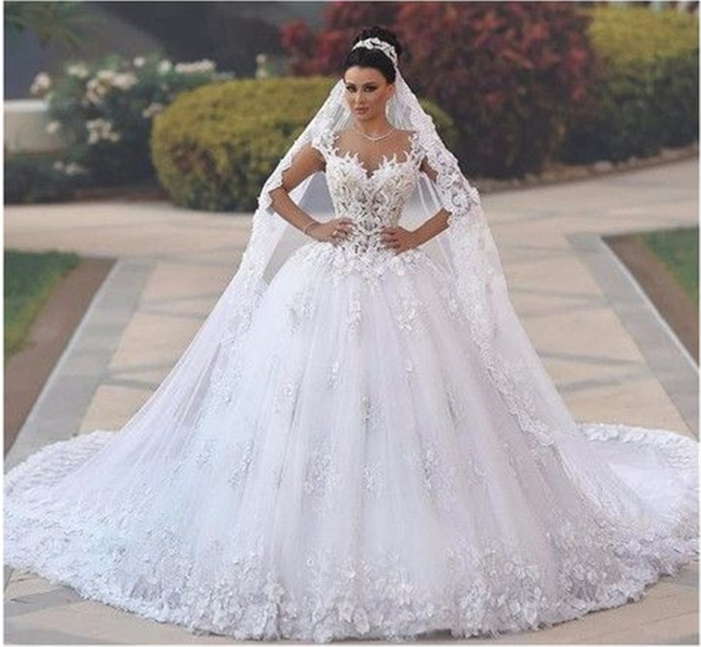 Embroidery On Net Flowers Wedding Dress 2019 Gorgeous Appliques Ball Gown Illusion Bridal Gown Vestido De Noiva