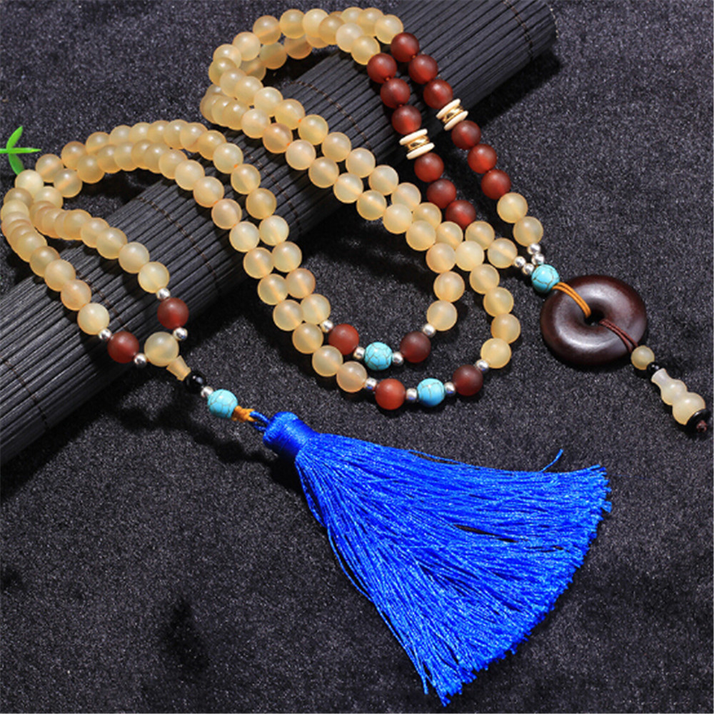 New Arrival Tibet Dazhaosi Grade Old Sheep Horn Beads Multi layer Strand Bracelet Blue Tassel Sweater Chain Buddha Beads Jewelry