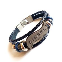 Bracelet Men Casual Fashion Braided Leather Black Bracelets For Multilayer Women Wood Bead letter Bracelet Punk Rock Men Jewelry(China)