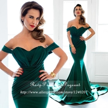 Emerald Green Long Elegant Prom Dresses 2017 Sweetheart Neck Cap Sleeve Stretch Satin Cheap Floor Length Gown Mermaid Prom Dress