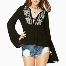 Spring Autumn Women Lace Up Sexy V Neck Flower Embroidery Blouse Tops Female White Black Red