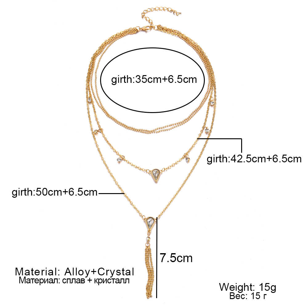 New jewelry retro crystal multi-layer necklace sweater chain ladies pendant retro charm necklace 2019, wholesale jewelry