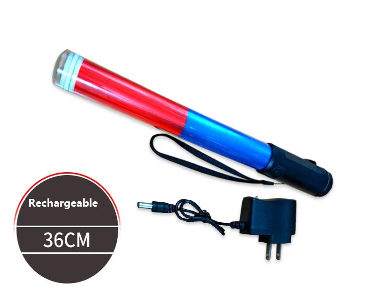 36CM Rechargeable LED Flashing Warning Road Traffic Baton