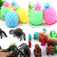 2018 New Stress Relief Mesh Squish Relax Pineapple Fidget Squeeze Toy Kid Animal Autism Toy Figures(China)