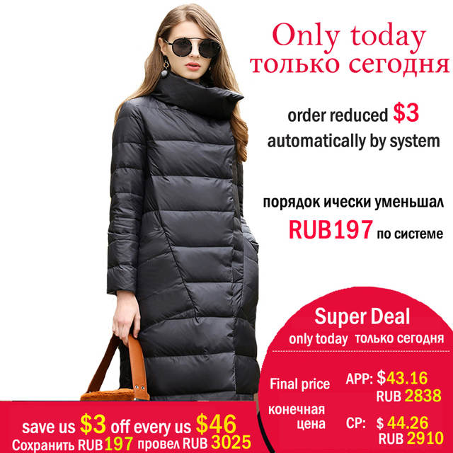 440a9f0cf US $47.26 57% OFF|Duck Down Jacket Women Winter 2018 Outerwear Coats Female  Long Casual Light ultra thin Warm Down puffer jacket Parka branded-in Down  ...