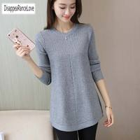 2019 Autumn Winter Sweater Women Round Neck Pullover Knit Sweater Large Size Loose Long Sleeves Women Tops Bottom Shirt Sweater