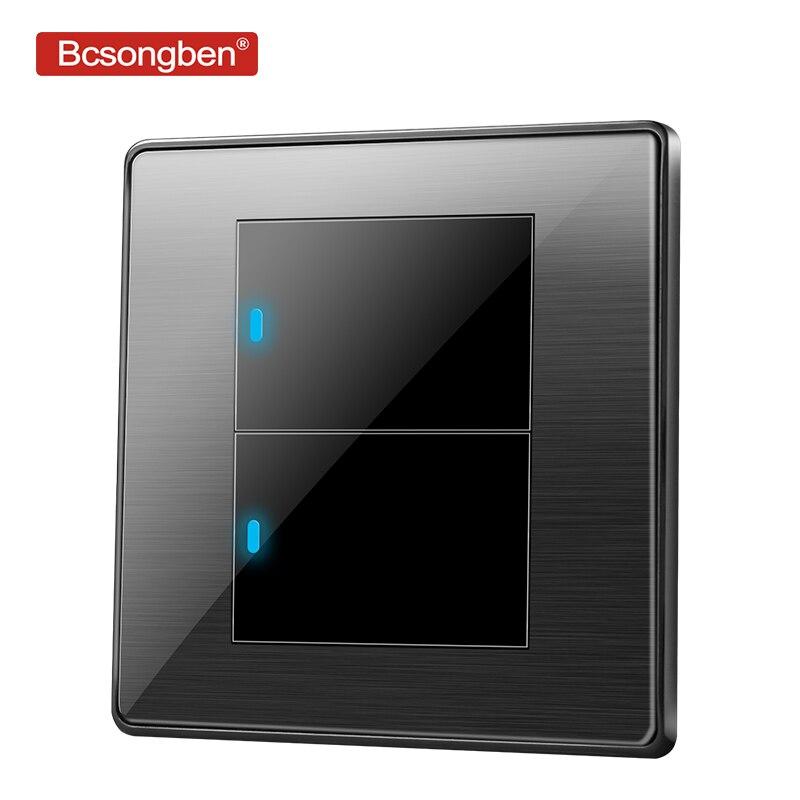 Bcsongben standard interruttore interruttore di pulsante interruttore della luce della parete in acciaio inox Nero acrilico 2 Gang 1 Way Switch AC 110- 250 V kd1-2k1