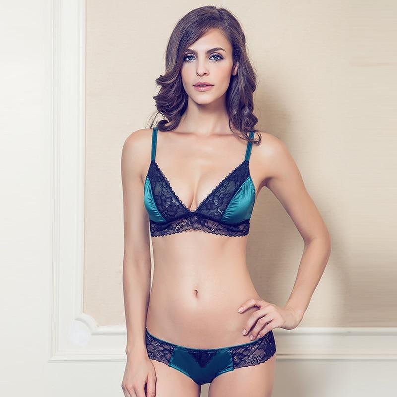 Ultra-thin women's comfortable   bra   & panties   sets   lace sexy comfortable underwear wireless   bra     sets
