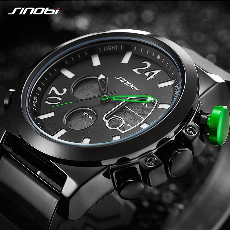 SINOBI Men Watches Man 2018 Chronograph Clock Military Waterproof Quartz Sport Wrist Watches Men Brand Digital Relogio Masculino все цены
