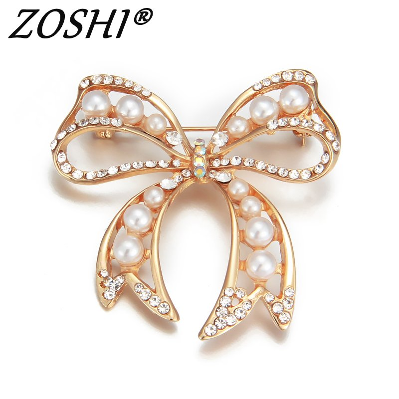 Gold Color Rhinestone Bow Brooches For Women Large Bowknot: Rhinestone Gold Bow Brooches Men Women's Alloy Simulated