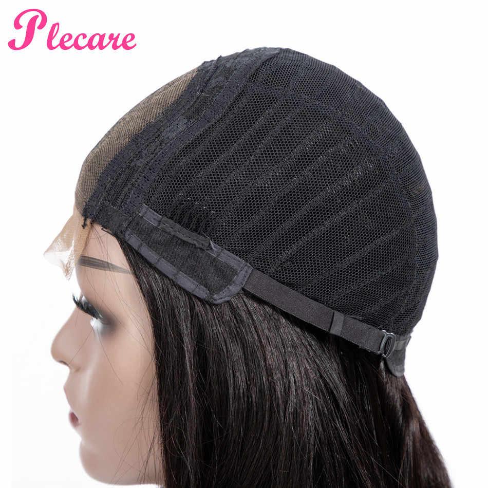 Plecare 4*4 pelucas de cabello humano con cierre de encaje pelucas de cabello humano para mujeres negras rectas de Color Natural brasileño no remy