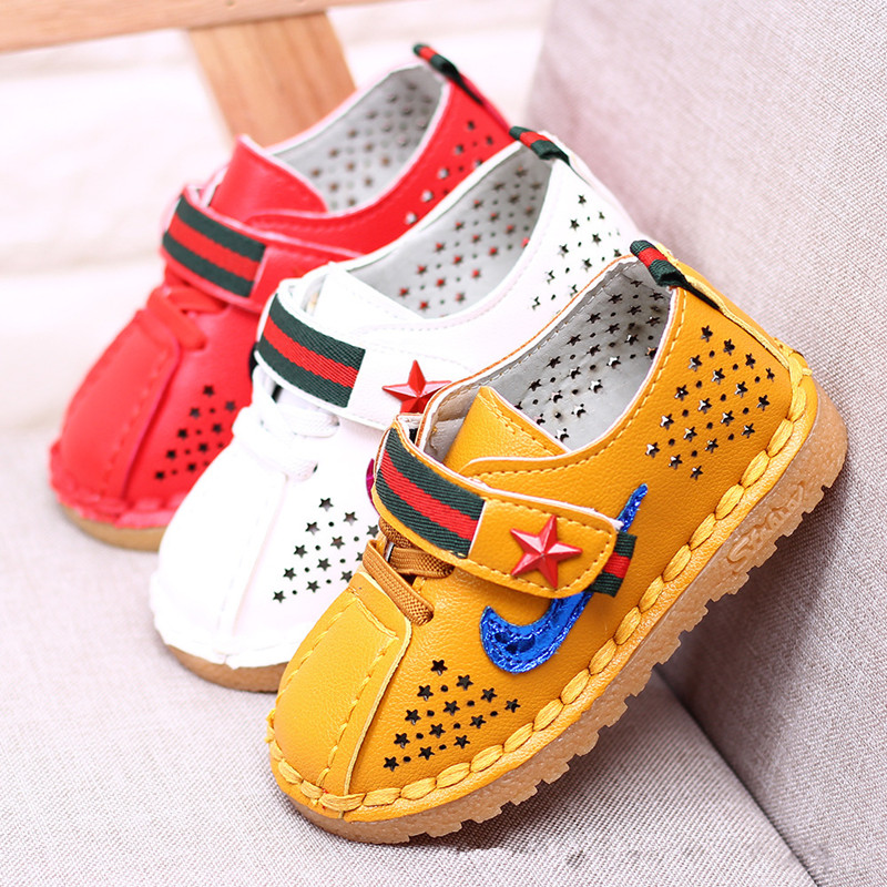 baby boy shoes newborn casual leather children shoes boys star Hollow Out cow muscle led boy shoes brown flat heels C018
