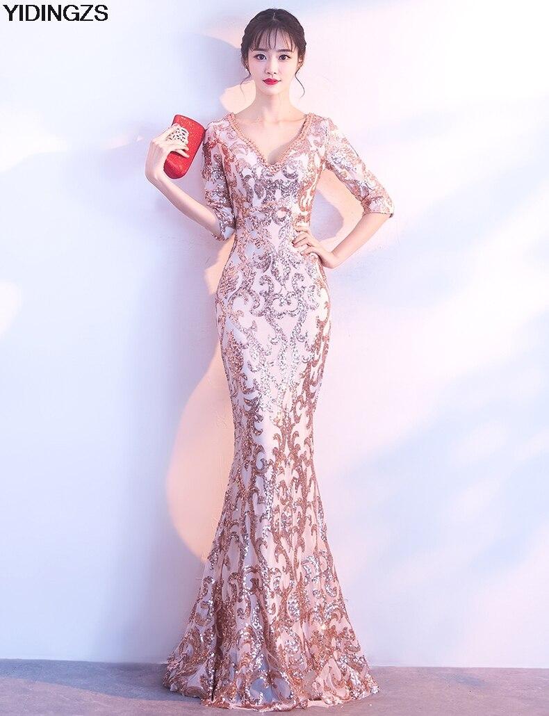 Yidingzs v-cuello ver a través de espalda lentejuelas vestido formal ...