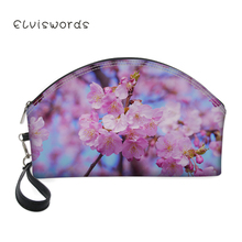 ELVISWORDS Makeup Bags Floral Pattern Printing Pretty Cosmetics Pouchs For Travel Ladies Pouch Women Toiletry Bag Cosmetic Bag все цены