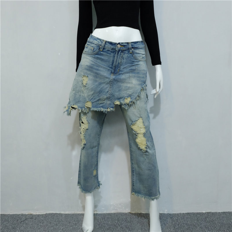 ФОТО Fashion Ladies Cropped Flare Distressed Jeans Women Vintage Fringe Edges Tassels Ripped Jeans Femme Denim Pants with Hole 020703